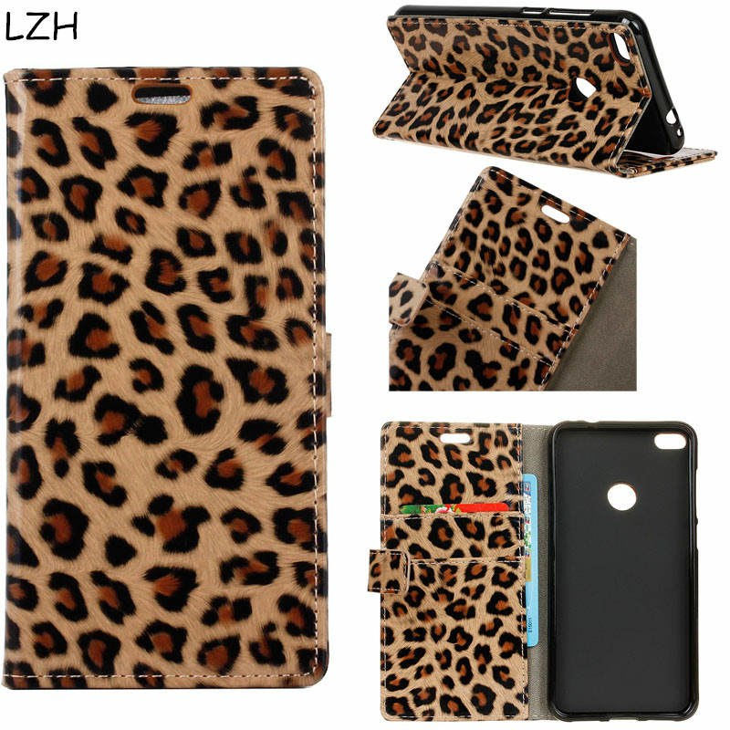 For Huawei Y6 Pro 2017 PU Leather Case Sex Leopard Pattern Flip Cover Magnetic Snap Wallet Case For Huawei Y6 Pro 2017