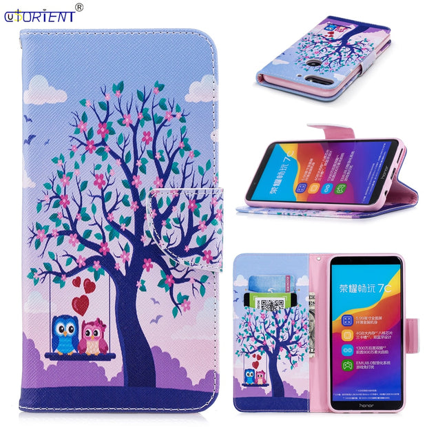 For Huawei Y7 Prime 2018 Honor 7C Pro Nova 2 Lite Cute Flip Wallet Case LND-L29 L22 LDN-L21 TL10 LX2 LX3 L01 Card Slot Phone Bag