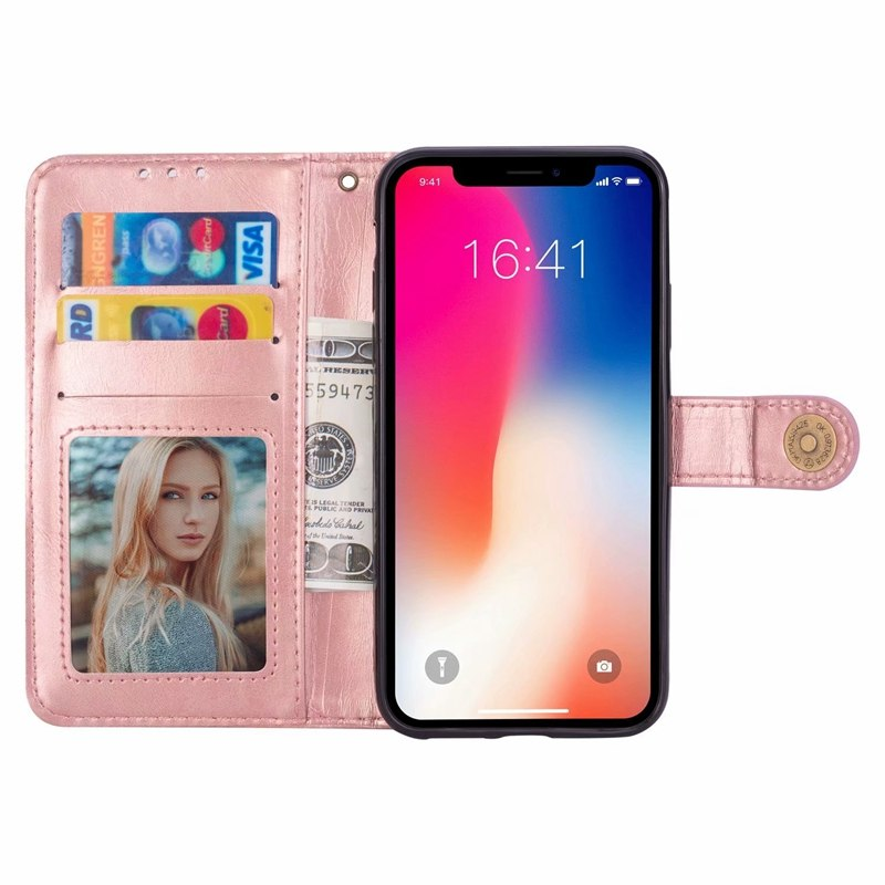 For Iphone X 8 7 Plus 6 6S Galaxy S9 A8 2018 Oil Leather Wallet Case Flip Cover Card Slot Coque Luxury Phone Pouch Strap