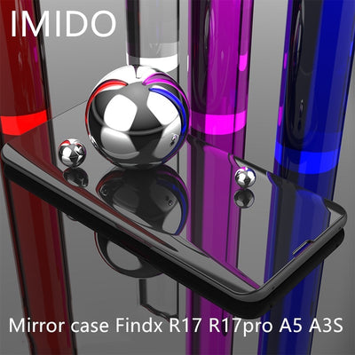 For OPPO FindX R17 R17PRO Luxury Clear View Smart Mirror Phone Case For OPPO A5 A3S Shockproof Full Protection Flip Stand Case