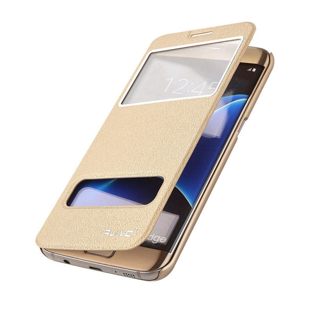 For Samsung S7 Case Original Alivo PU Leather Plastic Hard Cover For Samsung Galaxy S7 / S7 Edge View Window Phone Bags
