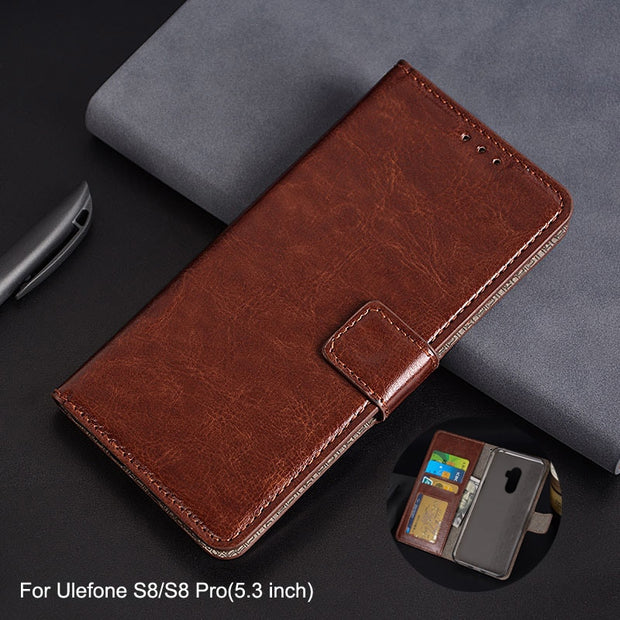 the best attitude 2fc3b 1771f For Ulefone S8 Pro Case Luxury PU Leather Case Flip Stand Card Slot Photo  Frame Wallet Cover For Coque Ulefone S8 Pro Phone Bags