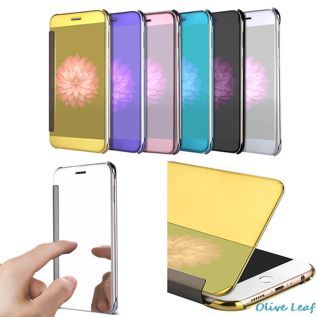 For IPhone 5 5S 6 6S SE 7 8 Plus X 10 Flip Case Full Screen Window Cover Visible Semi Transparent Electroplate Mirror Shell