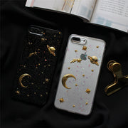 For IPhone X 3D Moon Stars Bling Glitter Phone Cases For Iphone 7 7Plus Space Planet Soft Case For Iphone 6 6s 6splus 8 8plus