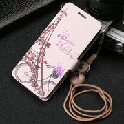 Funny Patterned Cartoon Cute Leather Flip Cover Case For Huawei Honor 9 Lite/Honor 9 Youth Edition With Magnet And Lanyard MC02