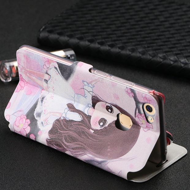 "Funny Patterned Cartoon Cute Leather Flip Cover Phone Case For BBK Vivo V7+ V7 Plus / Y79 (5.99"") With Magnet And Lanyard MC02"
