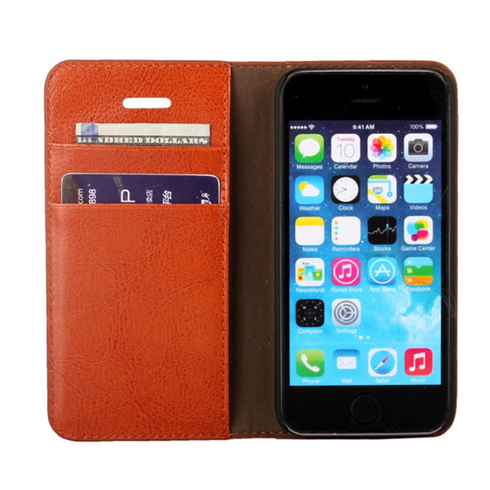 Genuine Leather Case For IPhone 5 5S Flip Stand Design Book Wallet Style With Card Slot Holder Phone Back Cover For Iphone 5SE