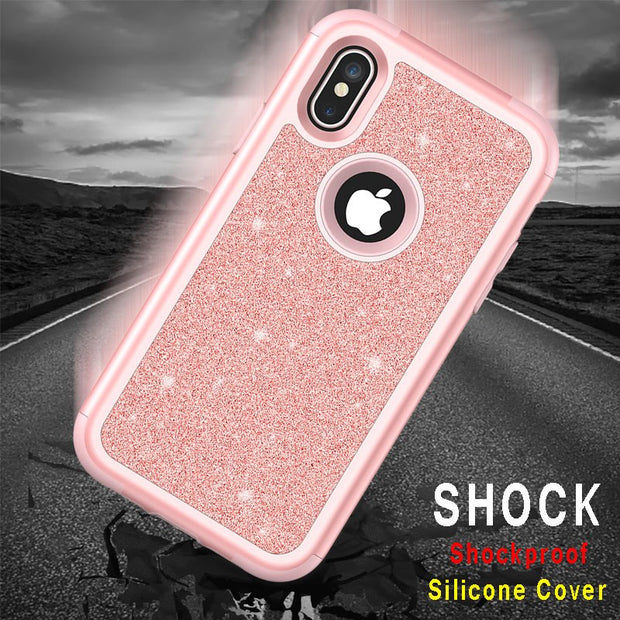 Glitter Case For Iphone X 8 7 Plus Silicone Hybrid Armor Cover Case For Iphone X 8 Plus 3 In 1 Phone Cases Cute Bling Soft Cover