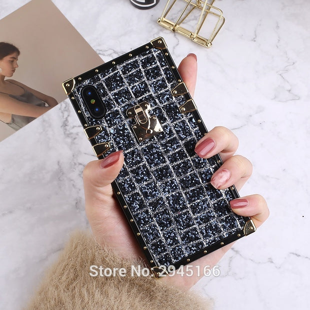 Glitter Shining Crocodile Sequins Case For IPhone X 6 6S 6SPlus 7 8 Plus Flash Cute 3D Metal Silicone Frame Back Cover Bott