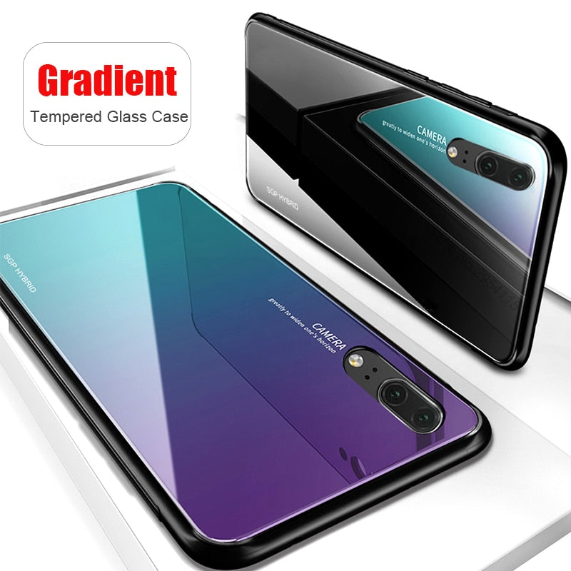 Gradient Aurora Tempered Glass Case For Huawei P20Lite Case Colorful Smooth Back Protector Shell P20 P 20 Pro Lite P20Pro Cover