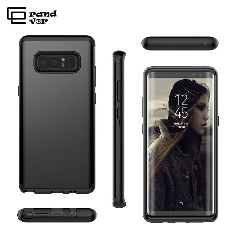 GrandEver Luxury Hard Case For Samsung S8 Plus Note 8 Case Matte PC Bumper Silicone Protect For Galalxy Note8 3 In 1 360 Cover