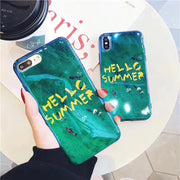 Hello Summer Soft Phone Case For IphoneX 8 8plus Green Blue Ray Fashion Cewebrity Cover Case For Iphone 7 7plus 6 6s Plus