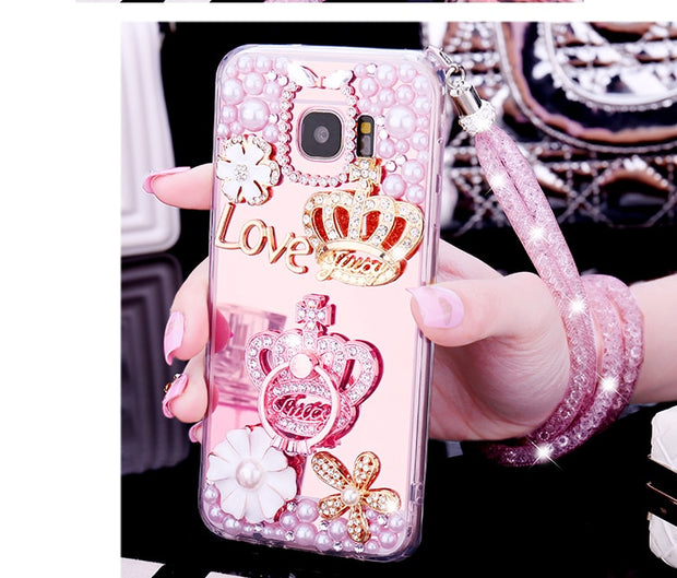 Hot Glitter 3D Crown Crystal Mirror Cases For Samsung Galaxy S10 Lite S9 S8 S10 Plus S7 Edge Note 9 8 Bling Pearl Coque Fundas