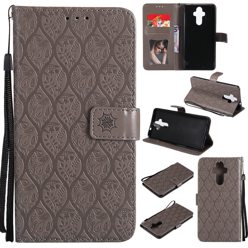 Huawei Mate9 Case Luxury Pu Leather 3D Embossing Phone Holder Card Slot Wallet Case For Huawei Mate 9 Case Phone Armor Cover