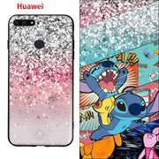 Huawei Y6 Prime 2018 Honor 7A Honor 7A Pro Enjoy 8E Case 3D Stitch Starry Sky Pink Painting Soft TPU Back Black Cover Fundas