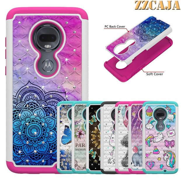 Hybrid Shockproof Phone Case For Motorola Moto G7 Plus Power Play Glitter Bling Dual Layer Cover For Moto Z4 Play Back Fundas