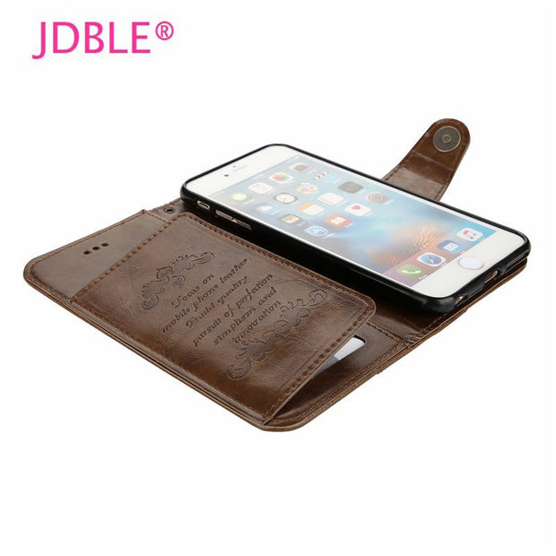 JDBLE 2018 New Arrival Luxury Couqe 5 Card Slotes Flip Cover For Iphone6 6S 7 8 Plus Cases Real Genuine Wallet Phone For Retro