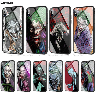 Lavaza Clown Joker Tempered Glass TPU Case For IPhone XS MAX XR X 8 7 6 6S Plus