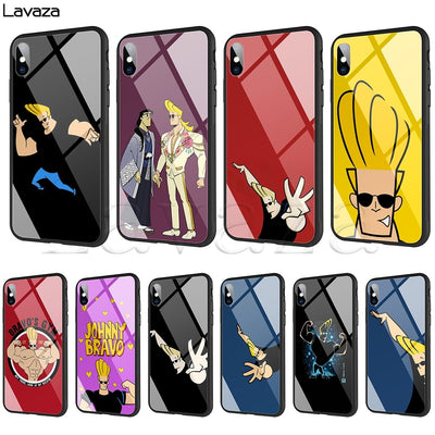 Lavaza Johnny Bravo Tempered Glass TPU Case For IPhone XS MAX XR X 8 7 6 6S Plus