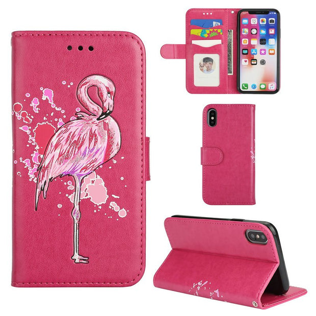 Leather Flamingo Flip Cover For Apple IPhone 5 6 7 8 Plus Coque IPhone X Case IPhone6 IPhone8 For IPhone 8Plus Case IPhone7