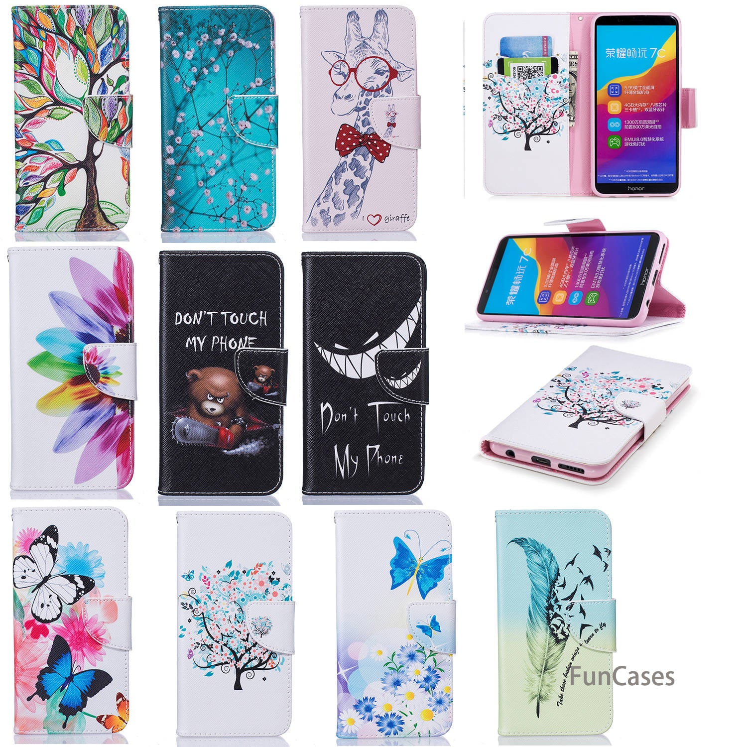 Life Tree Flip Phone Case SFor Etui Huawei Honor 7C Soft TPU Back Cover Celular Metallic Phone Case For Huawei Ascend Honor 7C
