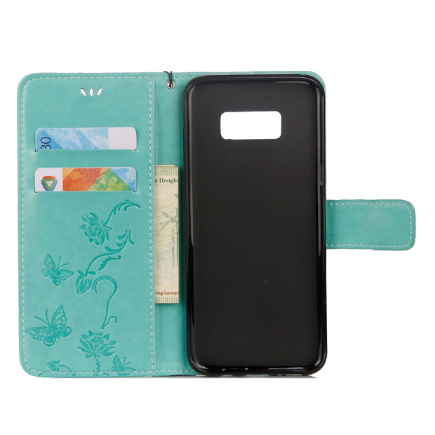 Lotus Butterfly Embossing Leather Case Wallet Flip Stand Cover For Samsung Galaxy NOTE 8 S8 S7 S6 S5 A8 A7 A5 A3 With Lanyard
