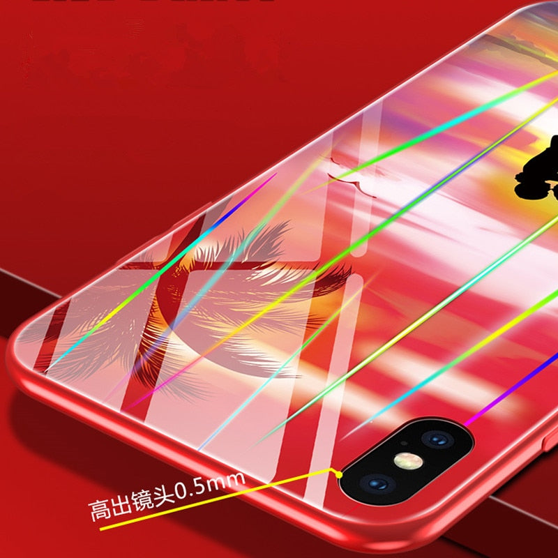 Luminous Case For IPhone 6 6s 7 8 Plus X Xs Max Xr Hard Tempered Glass + Soft Frame Noctilucan Cover Laser Aurora