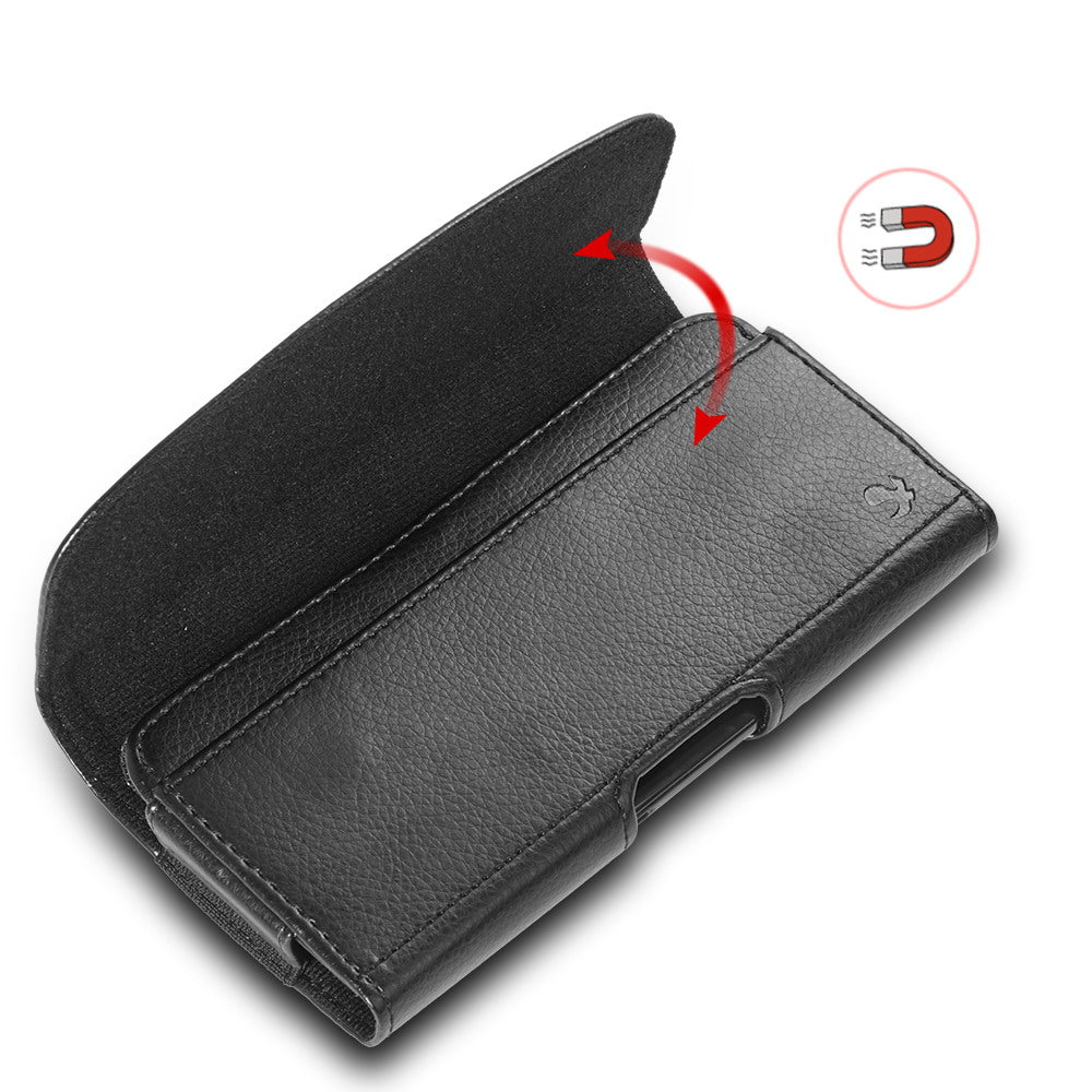 Luxmo Leather Wallet Belt Clip Pouch Phone Case Sport Holster Cases Cover Bag Belt Case For Cell Phone 6.3 Inch Universal Bags