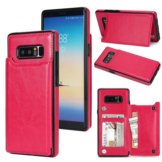 Luxury Business Wallet Leather Case For Samsung Galaxy Note 8 Back Cover Slot Card Stand For Galaxy Note 8