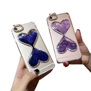 Luxury Diamond Double Heart Glitter Liquid Phone Strap Cover For IPhone 6 6s 7 Plus Lanyard Soft Bling Case