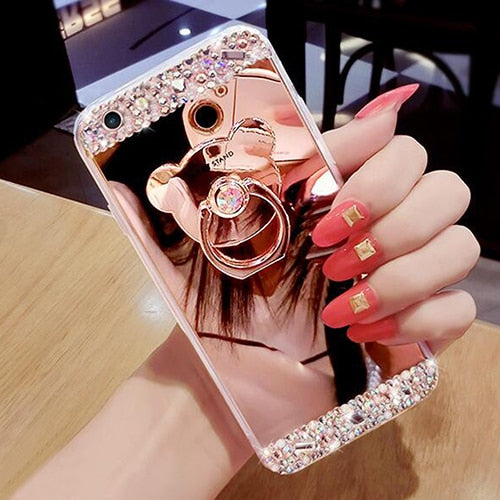 Luxury Diamond Soft TPU Crystal Rhinestone Glitter Mirror Case For Girls With Ring Holder For Iphone 5S 6 6S Plus 6plus 7 7plus