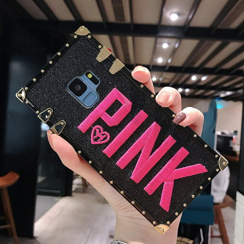 Luxury Embroidery 3D Pink Letter Phone Case For Samsung Galaxy S9 S8 Plus Note 9 Bling Sparkle Glitter Metal Rivet Square Cover