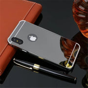 Luxury Metal Hard Phone Case For IPhone X Plating Aluminum Frame + Mirror PC Back Cover For Iphone X 10