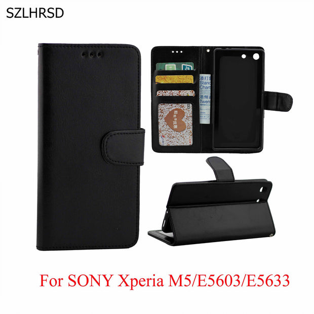 Luxury PU Leather Phone Accessories Bags Wallet Case For Sony Xperia M5 E5603 E5633 Retro Business Photo Frame Capa Coque