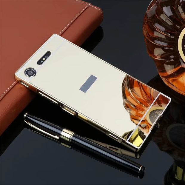 "Luxury Rose Gold Mirror Cases For Sony Xperia XZ1 Case Alumimum Metal Frame Shell Back Cover For Sony XZ1 5.2"" Cases"