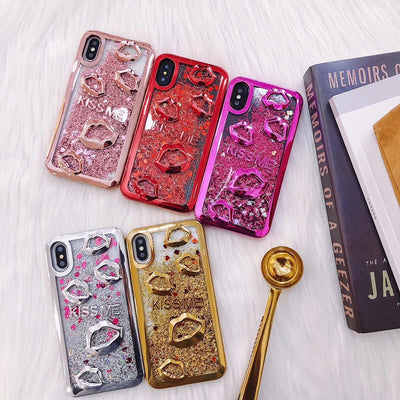 Luxury Cover For IPhone 7 8 Plus X Lips Bling Liquid Glitter Phone Case For IPhone 6 6S Clear Soft TPU Case For IPhone 8 Plus