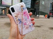 Luxury Fashion Floral Soft Phone Case For Iphone XS MAX Cover For Iphone X XR 6 6S 7 8 Plus 7plus Messenger Lanyard Chain Rose