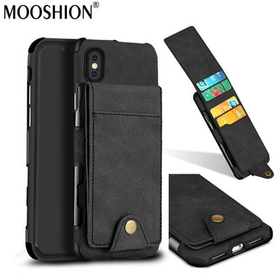 MOOSHION Retro PU Leather Case For Apple IPhone X Card Holders Cases Cover For IPhone X 10 Wallet Back Cover