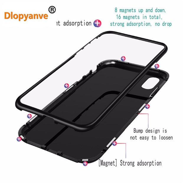 Magneto Phone Case For Samsung S8 S9 Plus Magnet Absorption Shell Metal Bumper Anti-Scratch Tempered Glass Back Cover