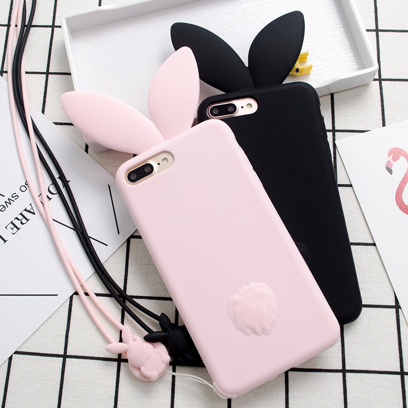 New Cute Bunny Pink Rabbit Ears With Rabbit Strap Soft Silicon Phone Case For IPhone Xs Max Xr 6 6s 7 8 Plus X 5s Se Capa