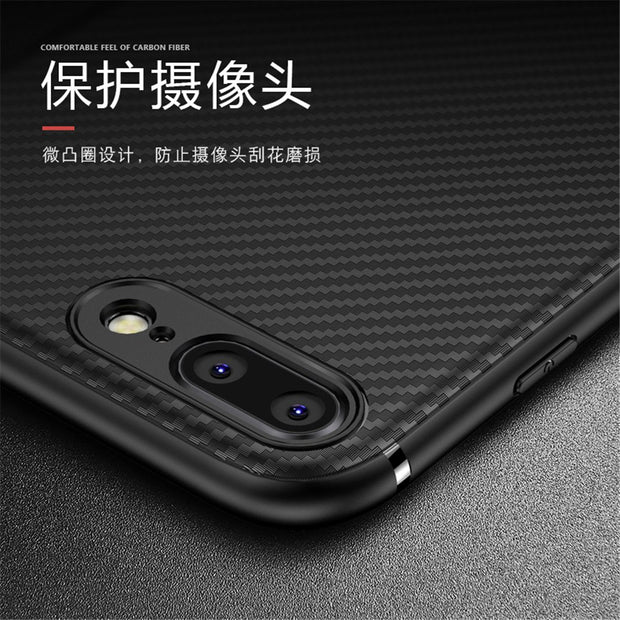 New Fashion Carbon Fiber Soft TPU Leather Case For Iphone 7 8 Plus Anti-knock Coque Ultrathin Shell Cover For Iphone 7 8 Plus