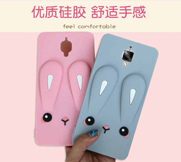 Oneplus 3T Cartoon Case, Cute Rabbit Ear Silicone Back Phone Cover Case For Oneplus 3T / Oneplus 3/ Oneplus3 Phone Cases