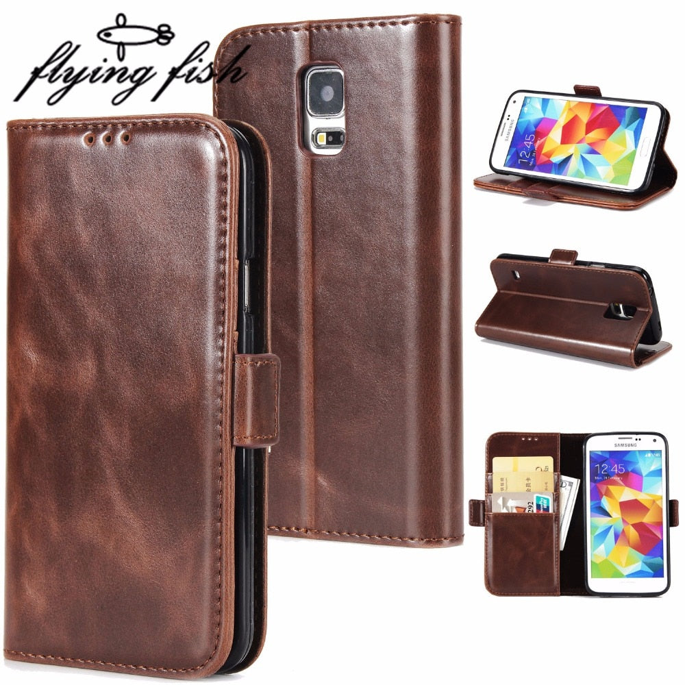 Original Brand Phone Cases For Samsung Galaxy S5 Case Fundas For Samsung S5 I9600 Leather Magnet Flip Wallet Bags Cover Capa