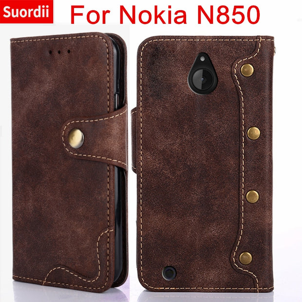 Phone Cases For Microsoft Nokia Lumia 850 N850 Rivet Style Leather Wallet Covers For Nokia Lumia 850 N850 Flip Stand Card Slots