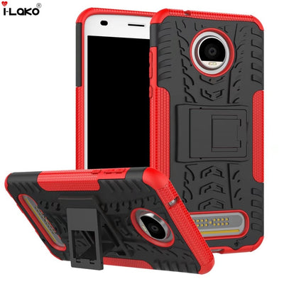 Removable Rugged Shockproof Hybrid Armor Heavy Duty Hard Case With Kickstand For Motorola Moto Z2 Play H008