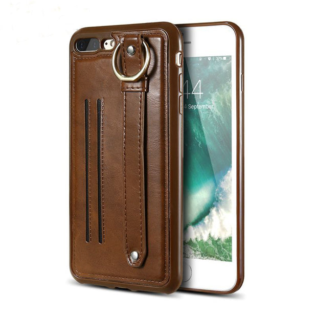 Retro Leather Case For Iphone 7 6 6s Card Holder Ring Hoop Handbag Style Phone Cover Ior Iphone 7 6s 6 Plus Accessories Coque