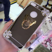 Rhinestone Mirror Phone Case For Samsung Galaxy S8 Plus S7 S6 Edge Plus S5 S4 S3 Note 8 5 4 3 Flowers Diamond Stand Cover Coque
