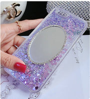 Rhinestone Mirror Quicksand Cover For IPhone 6 6S 6S Plus Phone Case Glitter Liquid Make Up Mirror Case For IPhone 7 7Plus