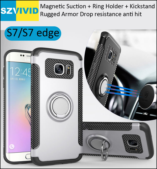 Ring Holder Case For Samsung Galaxy S7 Edge Finger Grip Magnetic Suction Cover Absorb On Car Holder Bracket