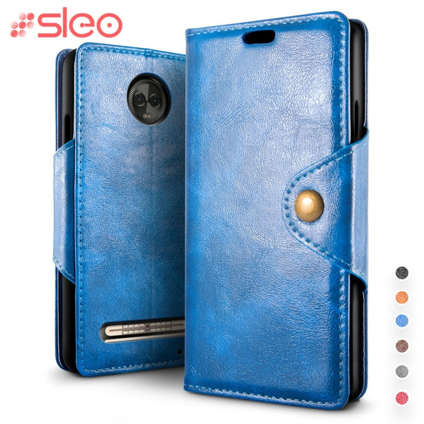 SLEO Retro PU Leather Case For Motorola Moto Z3 Play Case Cover Flip Leather Case For Motorola Moto Z3 Play Cover Business Case